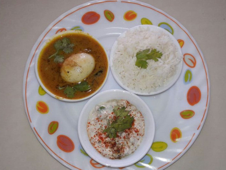 Coconut Egg Curry, Rice, Sliced Onion & Boondi Raita -  - Homely - By Anju Singh