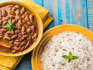 Homely Mini Treat : Rajma-Chawal with Creamy Raita, Salad and Green Chutney