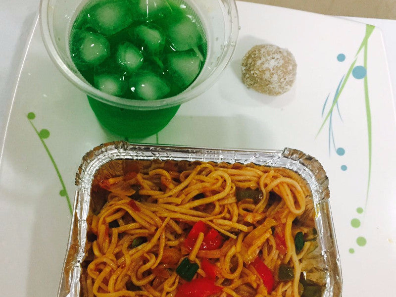 Schezwan Noodles with Exotic Vegetables, Chilled Brhami sharbat, Sweet