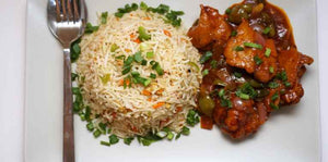 Chicken Fried Rice with Chicken Manchurian