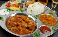 Malvani Chicken Curry with Chapati, Jeera Rice, Salad and Dessert