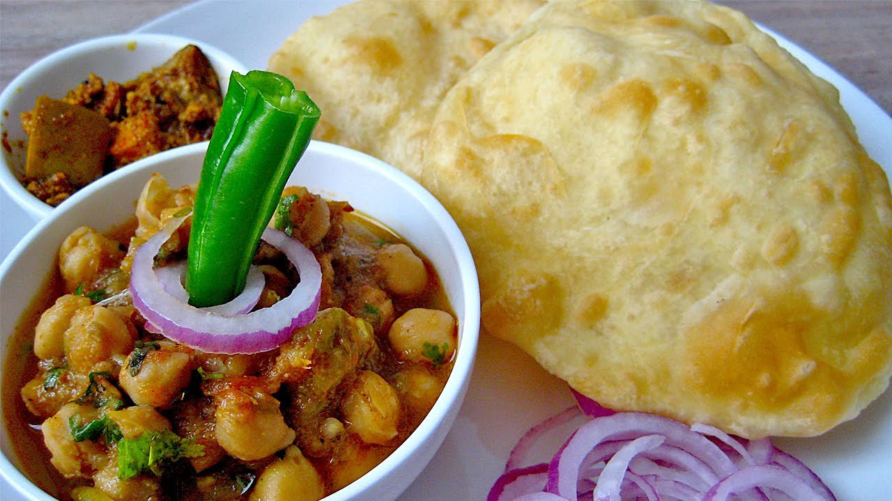 Chole Bhature (2) with Salad & Lassi