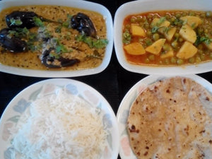 Hyderabadi Bhagare Baigan, Aloo Matar Masala, Steamed Rice & Ghee Rotis -  - Homely - By Rashmi Ahuja