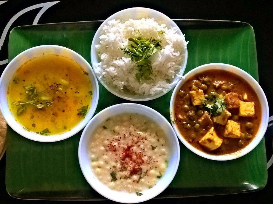 Matter Paneer Masala, Dal fry Tadka, Steamed Basmati rice, Butter /ghee Chapaties with Dessert -  - Homely - By Prachi Mishra - 1