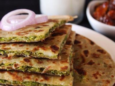 Stuffed Parathas (3) with Curd, Butter & Pickle