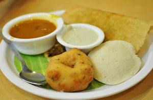 Idli / Wada(3) and Mini Uttapas (3) with Sambhar with Coconut chutney