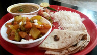 Veg Thali : Mix Veg, Dal, Rice, Roti, Papad, Salad & Pickle