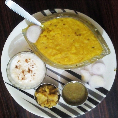 Dal Khichdi with Pickle, Papad, Homemade Cake & Buttermilk
