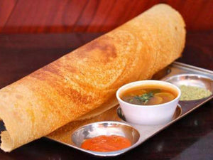 Masala Dosa (3) with Cheese (optional) with Coconut Chutney, GunPowder Chutney