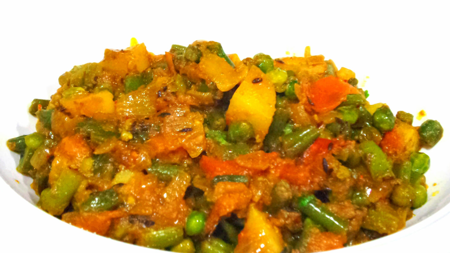 Mix Veg Sabji with Roti, Dal, Rice, Salad & Dessert
