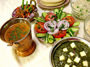 Palak Paneer with Roti, Dal, Rice, Salad & Dessert