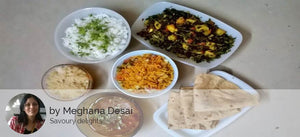 Aloo Methi, Wheat Chappatis, Sprout bhel, Dal, Jeera Rice and Mawa Muffin -  - Homely - By Meghana Desai