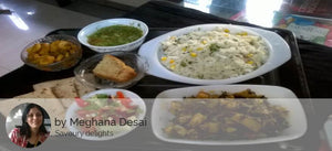 Aloo Methi, Roast Arabi, Dal fry with Corn flavoured Rice, Green Salad and Special Cake slice/ muffin -  - Homely - By Meghana Desai - 2