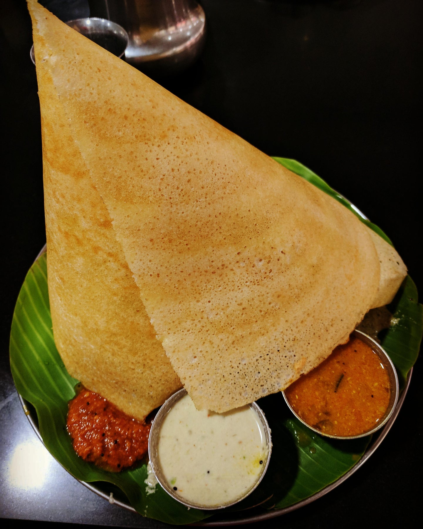 Dosa with Coconut Chutney & Gunpowder Chutney
