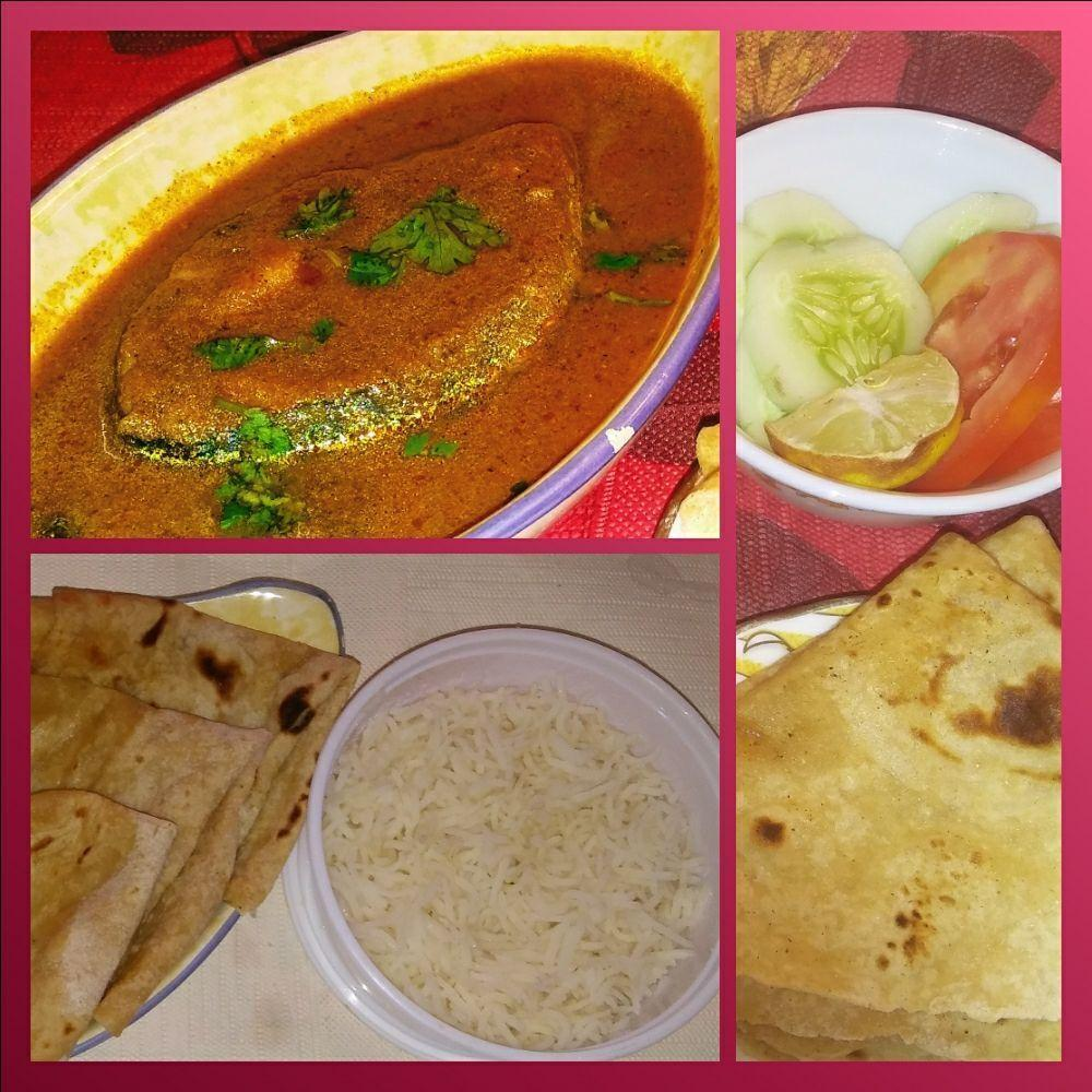 Malvani Fish Curry(1 pcs) with Rice & Salad