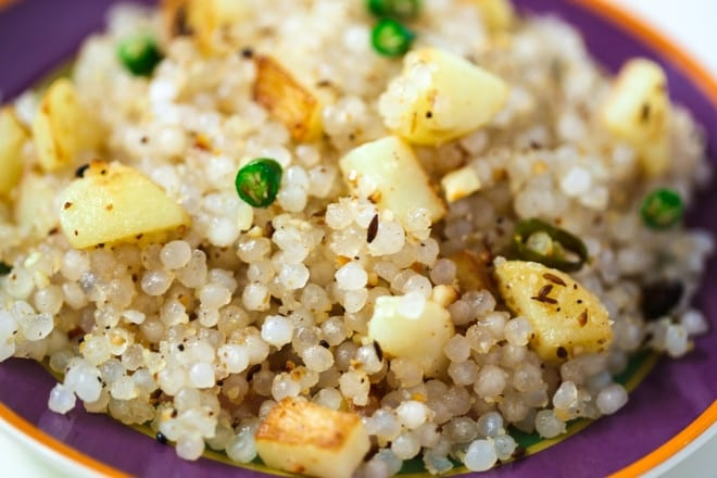 Sabudana Khichdi with Sweet Dahi & Home Made Banana Wafers