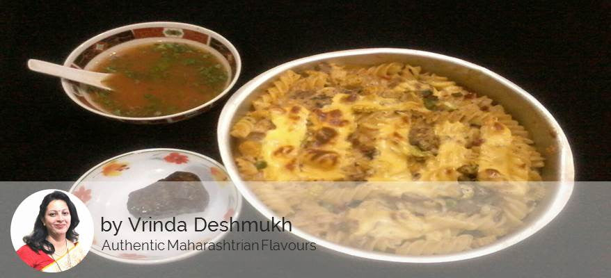 Baked veggies & Pasta in white sauce, Tomato coriander soup with Apple cup cake -  - Homely - By Vrinda Deshmukh - 1