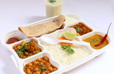 Chole Sabji with Roti, Rice, Daal, Salad, Papad, Pickle & Dessert