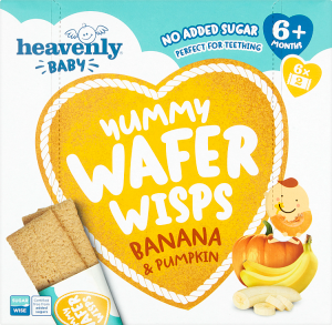 Heavenly Baby | Yummy Wafer Wisps | Banana & Pumpkin | 1 Case  containing 5 x60G | 6Months+ | Organic