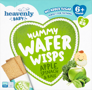 Yummy Wafer Wisps Apple, Spinach and Kale, 1 Case (5 x60G)