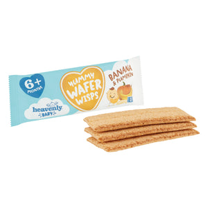 Heavenly Baby | Yummy Wafer Wisps | Banana & Pumpkin | 1 Case containing 14 x 14g Packs | 6 Months+ Organic