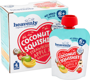 Coconut Squishies Strawberry, Apple & Banana Multipack (5 x 360g = 20x90g pouches) 1 case