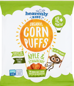 Heavenly Kids Corn Puffs, Apple and Strawberry, 15g