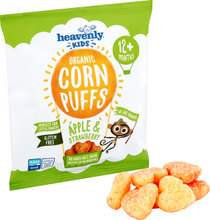 Load image into Gallery viewer, Heavenly Kids Corn Puffs, Apple and Strawberry, Case (6 x 15G) 1 case