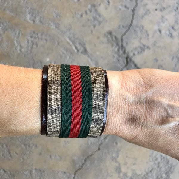 Upcycled Gucci Cuff Bracelet with Ribbon