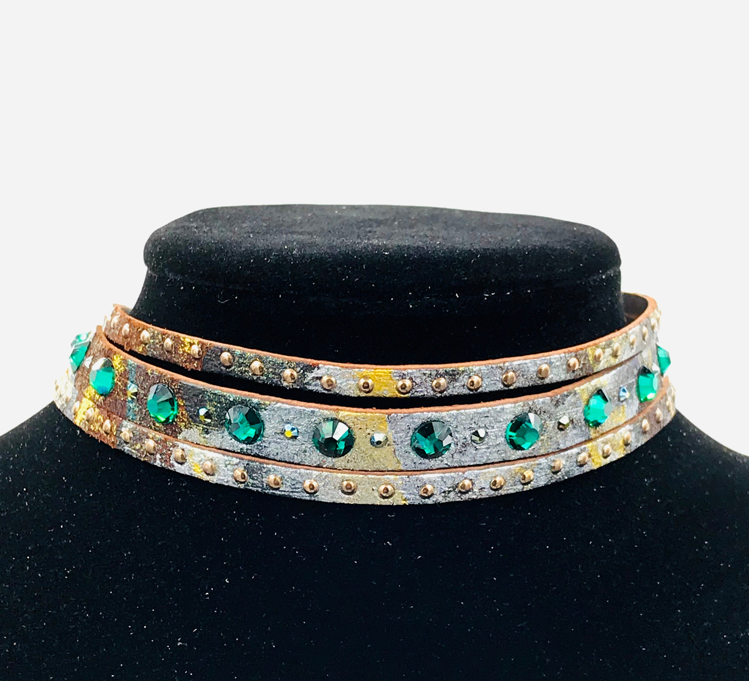 "Big Stone Triple Treat Bracelet/Choker/Boot Cuff - ""Dancing Emeralds"""