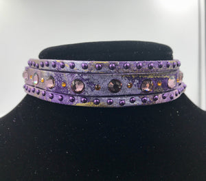 "Big Stone Triple Treat  Bracelet/Choker/Boot Cuff - ""Purple Haze"""