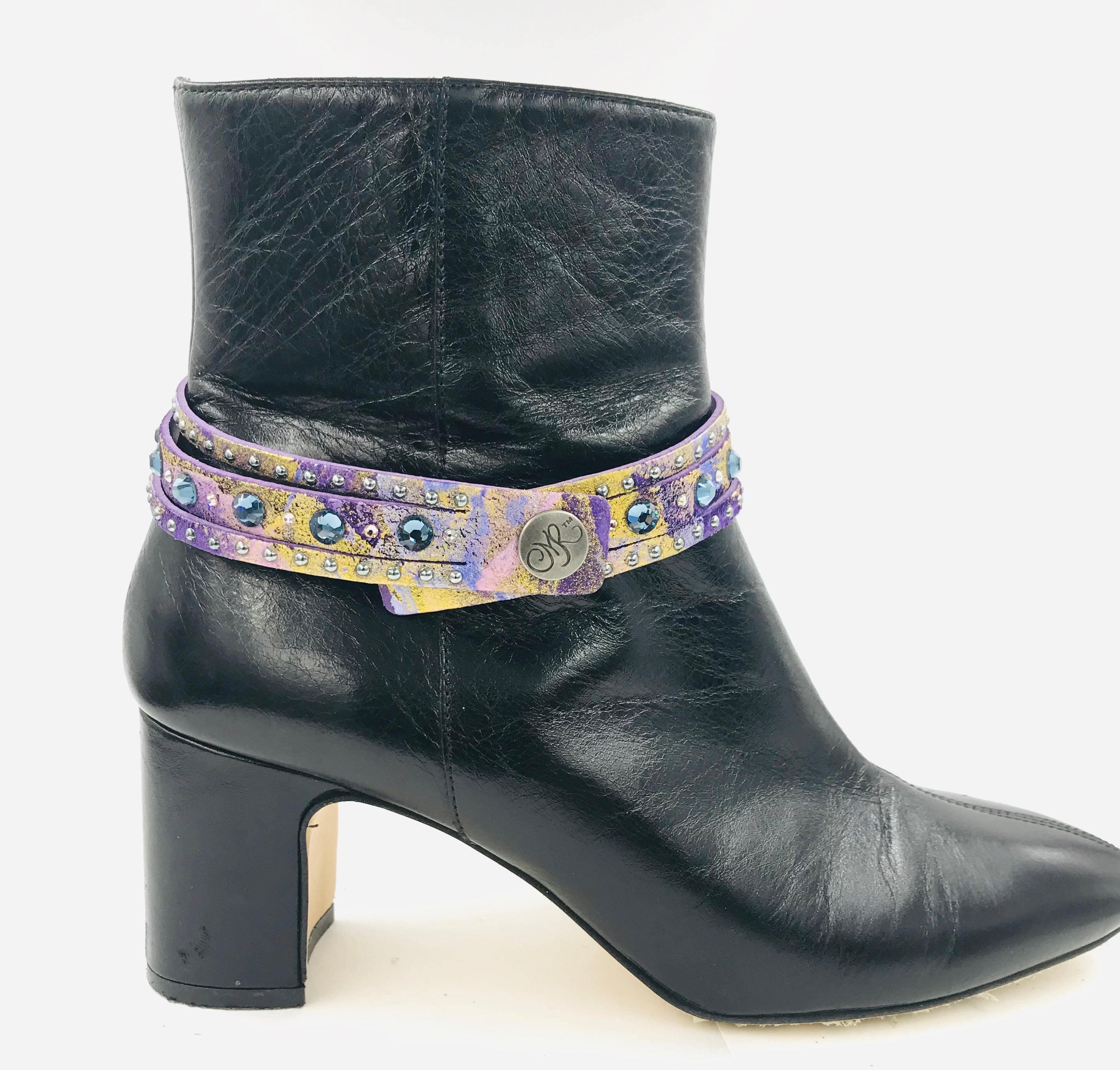 "Big Stone Triple Treat Bracelet/Choker/Boot Cuff - ""Denim Blue Dance"""