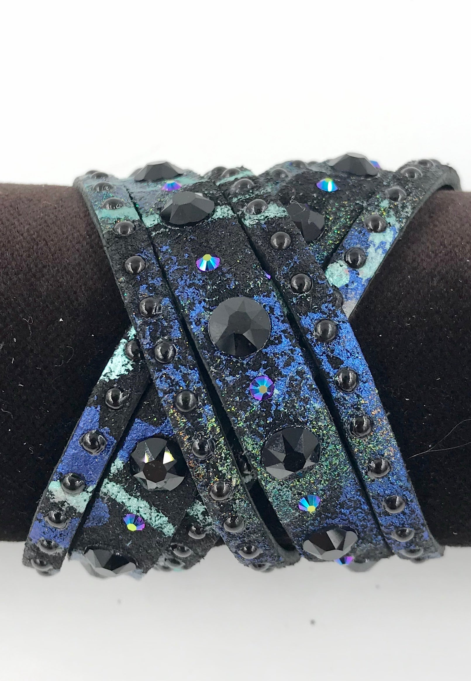 "Big Stone Triple Treat Bracelet/Choker/Boot Cuff - ""Black Beauty"""