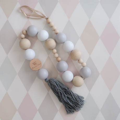 Grey + White Beaded Mobile