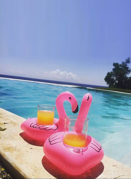 2 x Inflatable Flamingo Pool Float Drink Holders
