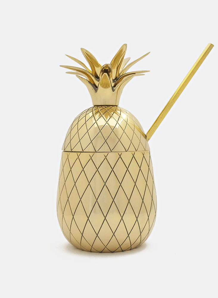 Large Brass Pineapple Tumbler with Straw (16oz) - Gold