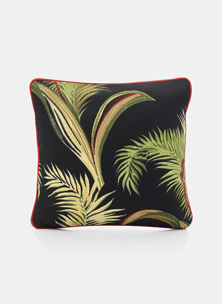 Print Cushion - Palms Black