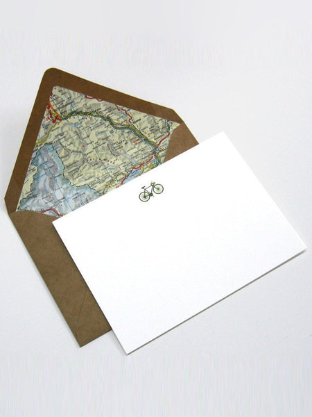 Terrapin - Olive Bicycle Vintage Map Card/Envelope set of 6