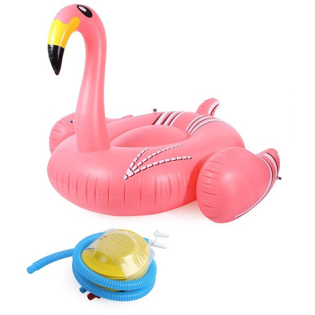 Inflatable Flamingo Pool Toy and Pump - Pink/Yellow