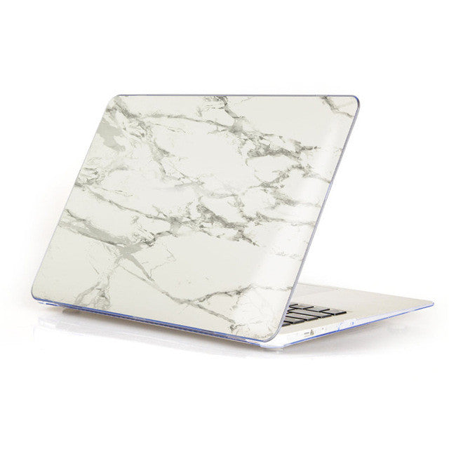 Marble Matte Hard Case Cover For Macbook - White/Grey