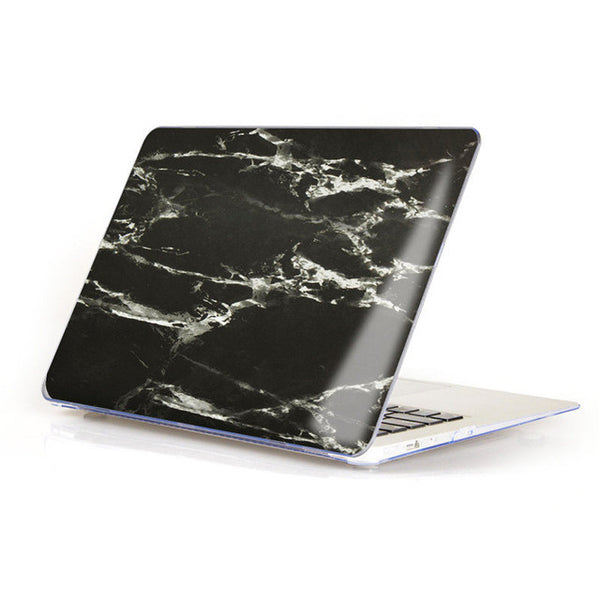 Marble Matte Hard Case Cover For Macbook - Black/White