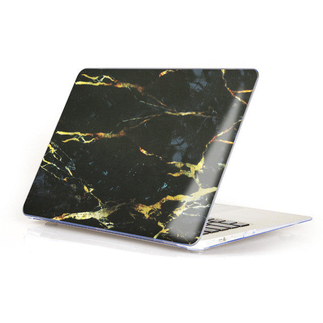 Marble Matte Hard Case Cover For Macbook - Black/Brown