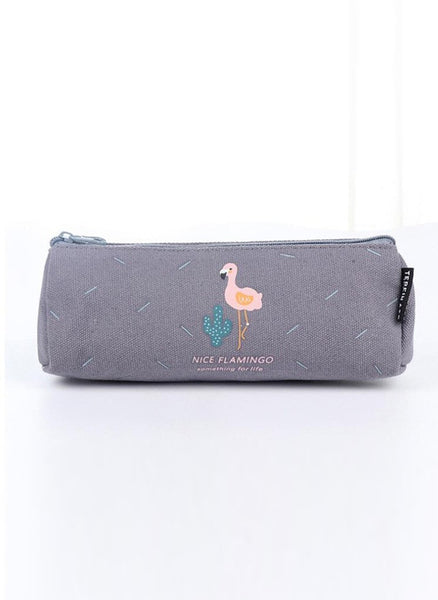 Grey Flamingo Pencil Bag