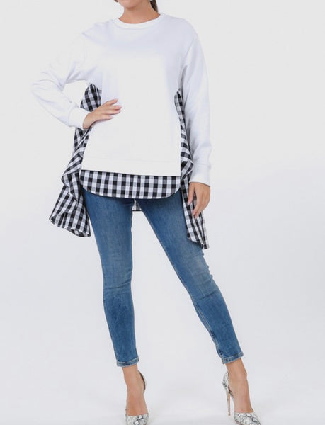 Sweatshirt with Asymmetrical Checkered Hem