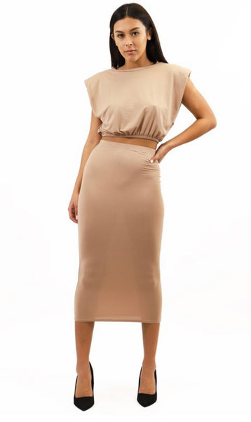Sleeveless Crop Top and Midi Skirt Set