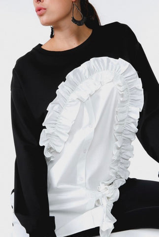 Sweatshirt with Button Up Frill