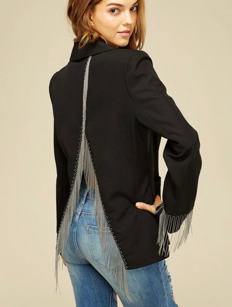 Open Back Chain Detail Blazer