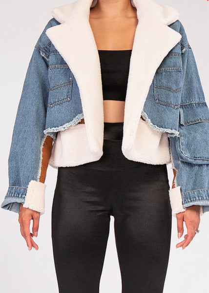 Faux Fur Suede Denim Jacket