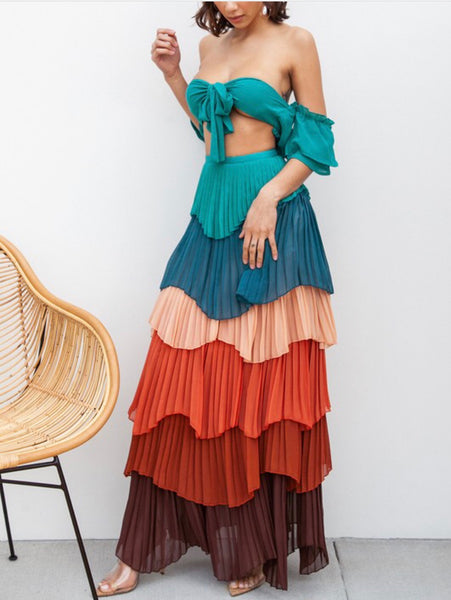 Multi Colored Pleated Tiered Skirt Set