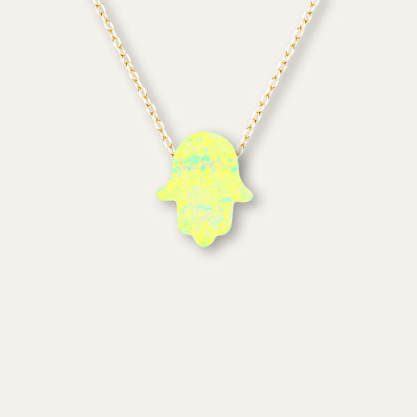 Yellow Opal Hamsa Chain Necklace in White Gold-tone